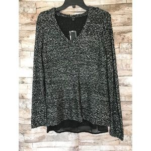 NWT Apt. 9 Chiffon Lined Sequin V-neck Pullover